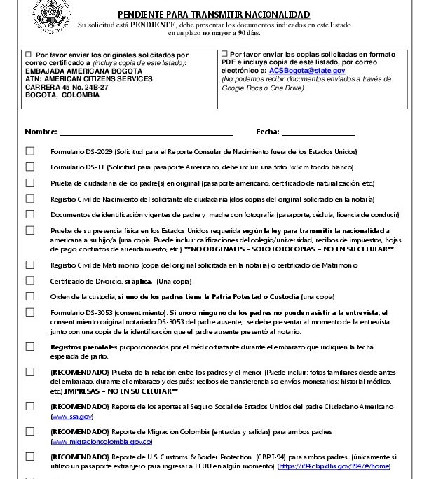 Check List In English Spanish 2018 Crba U S Embassy In Colombia